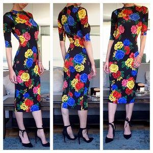 Alice + Olivia Delora Fitted Floral Midi Dress